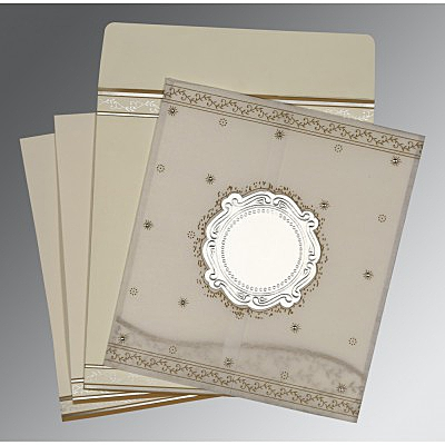 Ivory Wooly Embossed Wedding Invitation : AD-8202O - IndianWeddingCards