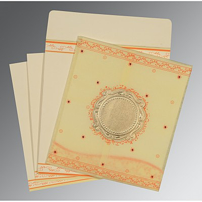 Ivory Wooly Embossed Wedding Invitation : AD-8202R - IndianWeddingCards