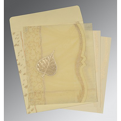 Ivory Wooly Embossed Wedding Card : AD-8210C - IndianWeddingCards