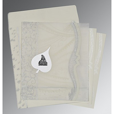 Ivory Wooly Embossed Wedding Card : AG-8210J - IndianWeddingCards