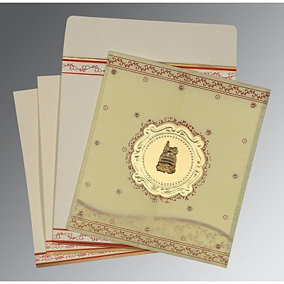Ivory Wooly Embossed Wedding Invitations : AI-8202E - A2zWeddingCards