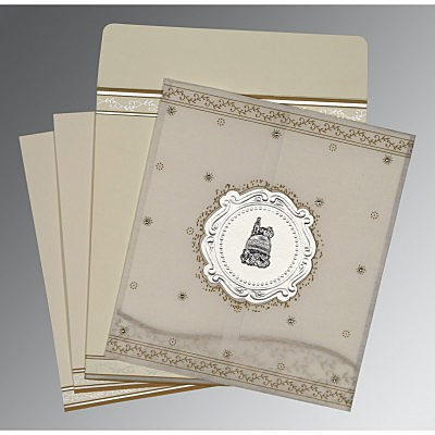 Ivory Wooly Embossed Wedding Invitation : AI-8202O - A2zWeddingCards