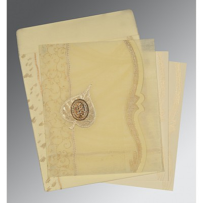 Ivory Wooly Embossed Wedding Card : AI-8210C - IndianWeddingCards