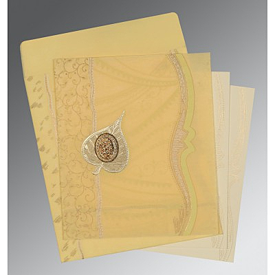 Ivory Wooly Embossed Wedding Card : AI-8210G - IndianWeddingCards