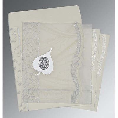 Ivory Wooly Embossed Wedding Card : AI-8210J - IndianWeddingCards