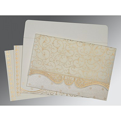 Ivory Wooly Embossed Wedding Invitation : AI-8221I - IndianWeddingCards