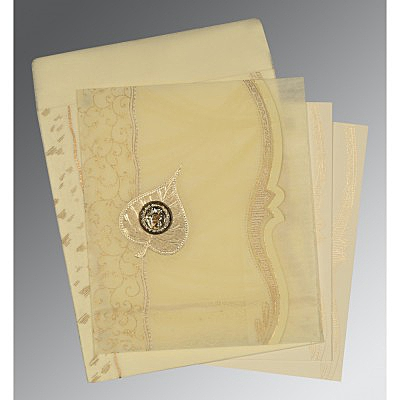 Ivory Wooly Embossed Wedding Card : ARU-8210C - IndianWeddingCards