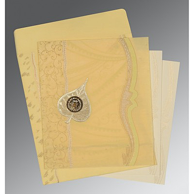 Ivory Wooly Embossed Wedding Card : ARU-8210G - IndianWeddingCards
