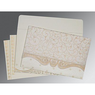 Ivory Wooly Embossed Wedding Invitation : ARU-8221G - IndianWeddingCards