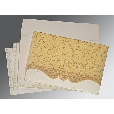 Ivory Wooly Embossed Wedding Invitation : ARU-8221K - IndianWeddingCards