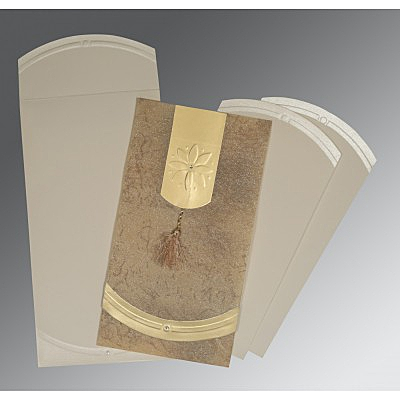 Ivory Wooly Embossed Wedding Invitations : AS-1385 - A2zWeddingCards
