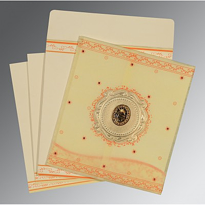 Ivory Wooly Embossed Wedding Invitation : AS-8202R - IndianWeddingCards