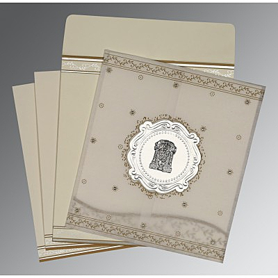 Ivory Wooly Embossed Wedding Invitations : ASO-8202O - A2zWeddingCards