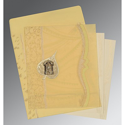 Ivory Wooly Embossed Wedding Card : ASO-8210G - IndianWeddingCards