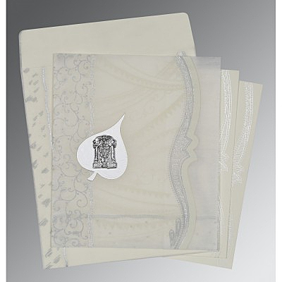 Ivory Wooly Embossed Wedding Card : ASO-8210J - IndianWeddingCards