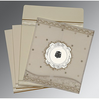 Ivory Wooly Embossed Wedding Invitation : AW-8202O - IndianWeddingCards