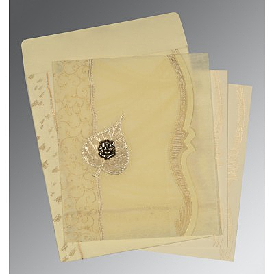 Ivory Wooly Embossed Wedding Card : AW-8210C - IndianWeddingCards