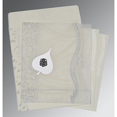 Ivory Wooly Embossed Wedding Card : AW-8210J - IndianWeddingCards