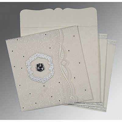 Ivory Wooly Floral Themed - Embossed Wedding Card : AW-8209N - IndianWeddingCards