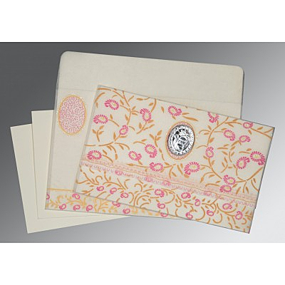 Ivory Wooly Floral Themed - Glitter Wedding Card : ARU-8206F - IndianWeddingCards