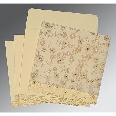 Ivory Wooly Floral Themed - Screen Printed Wedding Card : AD-8222I - IndianWeddingCards