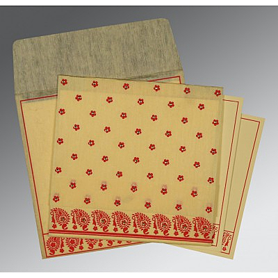 Ivory Wooly Floral Themed - Screen Printed Wedding Card : AI-8218B - IndianWeddingCards