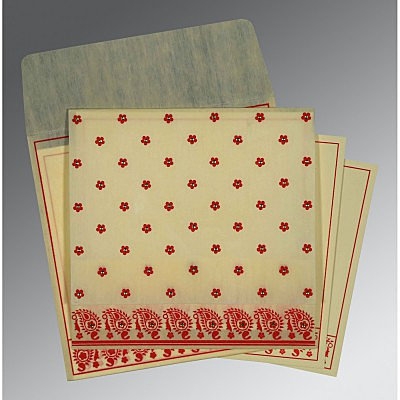 Ivory Wooly Floral Themed - Screen Printed Wedding Card : AW-8218F - IndianWeddingCards