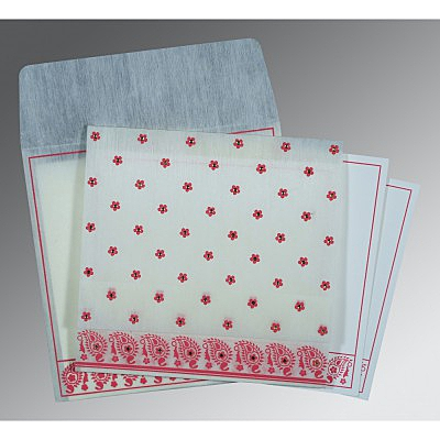Ivory Wooly Floral Themed - Screen Printed Wedding Card : AW-8218G - IndianWeddingCards