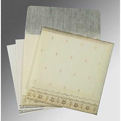 Ivory Wooly Foil Stamped Wedding Card : AG-8242M - IndianWeddingCards