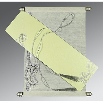 Ivory Wooly Foil Stamped Wedding Card : ASC-5015G - IndianWeddingCards