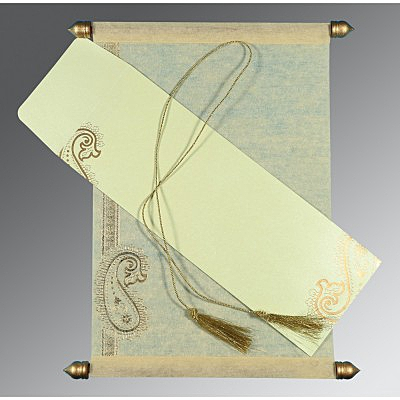 Ivory Wooly Foil Stamped Wedding Card : ASC-5015N - IndianWeddingCards