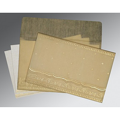 Ivory Wooly Foil Stamped Wedding Invitation : ASO-8241F - IndianWeddingCards