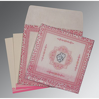Ivory Wooly Glitter Wedding Card : AI-8205A - IndianWeddingCards