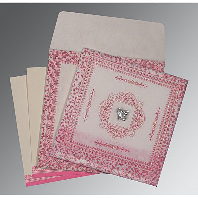 Ivory Wooly Glitter Wedding Card : ARU-8205A - IndianWeddingCards