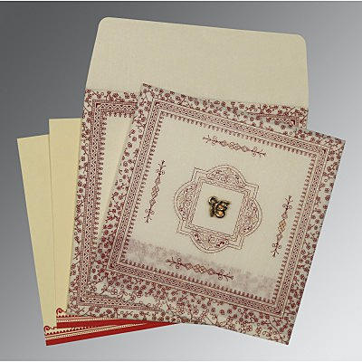Ivory Wooly Glitter Wedding Card : ARU-8205E - IndianWeddingCards