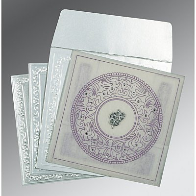 Ivory Wooly Screen Printed Wedding Card : AC-8214J - IndianWeddingCards