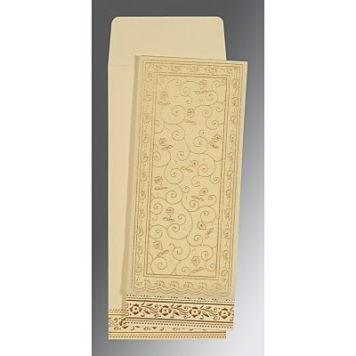 Ivory Wooly Screen Printed Wedding Invitation : AC-8220I - IndianWeddingCards
