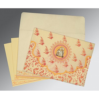 Ivory Wooly Screen Printed Wedding Invitation : AG-8207A - IndianWeddingCards