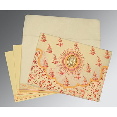 Ivory Wooly Screen Printed Wedding Invitation : AI-8207A - IndianWeddingCards