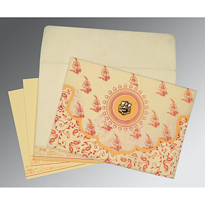 Ivory Wooly Screen Printed Wedding Invitation : AIN-8207A - IndianWeddingCards