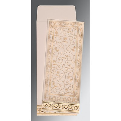 Ivory Wooly Screen Printed Wedding Invitation : ARU-8220D - IndianWeddingCards