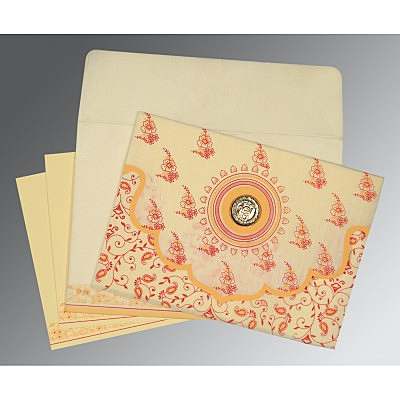 Ivory Wooly Screen Printed Wedding Invitation : AS-8207A - IndianWeddingCards