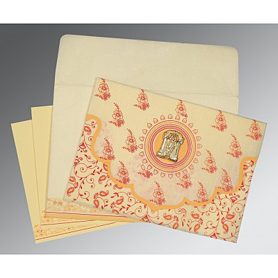 Ivory Wooly Screen Printed Wedding Invitation : ASO-8207A - IndianWeddingCards