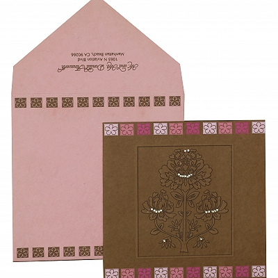 Khaki Handmade Cotton Floral Themed - Embossed Wedding Invitation : AW-832
