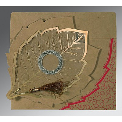 Khaki Handmade Cotton Floral Themed - Foil Stamped Wedding Card : AG-8219Q - IndianWeddingCards