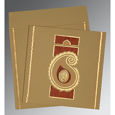 Khaki Matte Embossed Wedding Invitations : AI-1187 - A2zWeddingCards