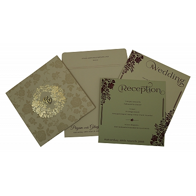 Khaki Matte Floral Themed - Foil Stamped Wedding Invitation : AI-1805 - A2zWeddingCards
