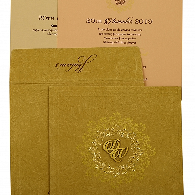 Khaki Matte Floral Themed - Screen Printed Wedding Invitation : AIN-1914