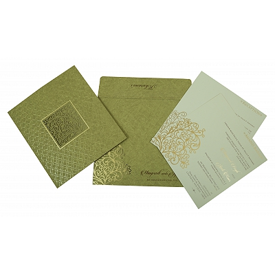 Khaki Matte Foil Stamped Wedding Invitation : ARU-1810 - A2zWeddingCards