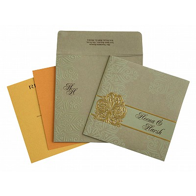 Khaki Matte Paisley Themed - Embossed Wedding Invitations : AD-1730 - A2zWeddingCards